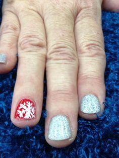 Snowflake Nail Art - Shellac - Glitter Nails  Nails by Amanda at Salon Brands Wichita KS