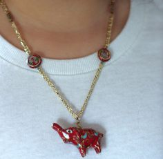 Cloisonne Red Elephant Necklace by MarlaBeeDesigns on Etsy, $22.00
