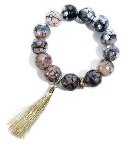 Boho Tassel Bracelet In Semi Precious Stones Neutral Grays