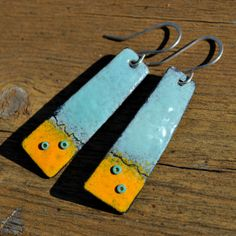 Torch Fired Enamel Earrings with Glass by lonesomedovedesigns, $40.00