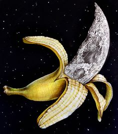 "P Ormiston, ""A Planetary Plantain"" Surreal Collage, Surreal Art, Collage Art, Optical Illusion Tattoo, Optical Illusions, Banana Art, Acid Art, Collage Vintage, Hippie Art"