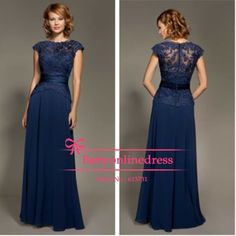 2014 New Arrival Elegant Cap Sleeves Navy Blue Chiffon Lace Mother of the Bridal Dresses Evening Gowns Floor Length
