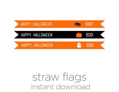 Printable Straw Flags  Halloween Decoration  by sparkanddelight
