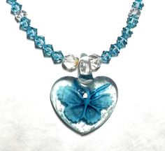 Murano Lampwork Heart Necklace Murano Necklace by EclecticDesigns