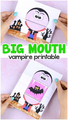 halloween crafts for kids - Surprise Big Mouth Vampire Printable Template Paper . Halloween Crafts For Kids To Make, Paper Crafts For Kids, Halloween Activities, Crafts To Do, Projects For Kids, Decor Crafts, Diy Projects, Diy With Kids, Kids Diy