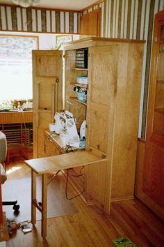 Custom Oak sewing armoire