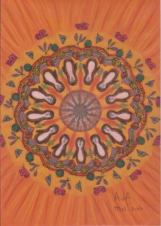 MANDALA : oranje-haas, wortel, pinguïn, regenboog - bloemen