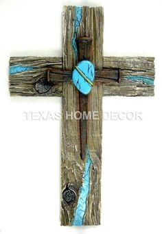 Turquoise Decorative Wall Cross Nails Heart Wood Look Layered Rustic Western