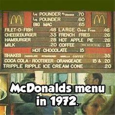 McDonald's Menu in 1972 Vintage Menu, Vintage Ads, Vintage Stuff, Mcdonald Menu, Pin Up, The Last Summer, Tropical, I Remember When, Old Ads