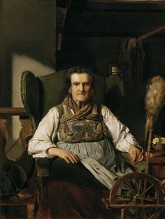 Franz Eybl (1806-1880): Ramsauer peasant woman at the spinning wheel, 1836