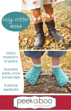 Cozy Critter Socks - Peek-a-Boo Pattern Shop Sewing Patterns For Kids, Sewing Projects For Beginners, Sewing For Kids, Clothing Patterns, Pdf Patterns, Fabric Patterns, Sewing Ideas, Baby Patterns, Fabric Purses
