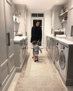 When you design a whole play room for your toddler but all they want to do is clean the utility room 🙄😂. The Abaca runner has… Mudroom Laundry Room, Laundry Room Layouts, Laundry Room Bathroom, Boot Room Utility, Utility Room Storage, Utility Room Designs, Open Plan Kitchen Living Room, Laundry Room Inspiration, Laundry Room Design