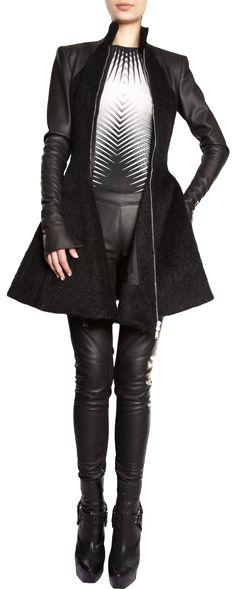 GARETH PUGH  Alpaca And Leather Godet Coat