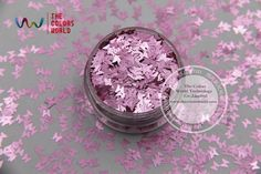 TCJ107 Pearlescent  Rose Pink Colors Butterfly shape 3.0MM Size Glitter for nail Art nail gel makeup or DIY decoration