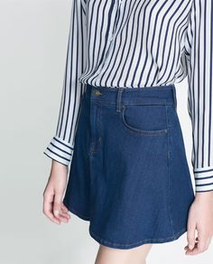 Image 4 of DENIM SKATER SKIRT from Zara