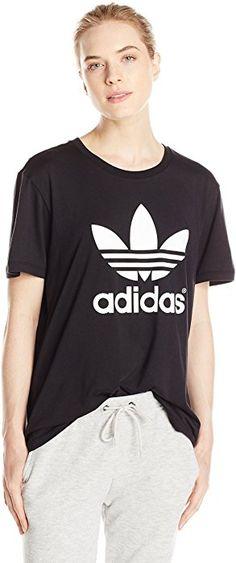 c0e58ce026246 adidas Originals Women's Boyfriend Trefoil Tee, Large, Black at Amazon  Women's Clothing store: