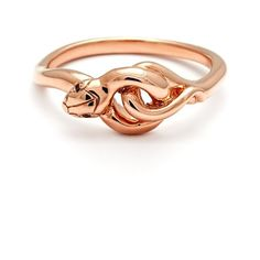Women's Anna Sheffield 'Small Serpent' Rose Gold Ring ($825) ❤ liked on Polyvore featuring jewelry, rings, rose gold jewellery, pink gold jewelry, anna sheffield, rose gold jewelry and stud ring