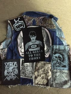 Hello!  Up for sale is this great! Large! Back patch, made from 100% cotton, blacks jeans. The patch image measures about 6 x 10, including the fabric edges, it measures about 7 x 12.  This patch has the image of Kathleen Hanna, front woman of the band Bikini Kill. The words under neath her are All girls to the front and fan or not, I think you know what she means. The patch can be pinned, cut some more, and/or sewn to anything. Goes great on tote bags, rocker jean vest, leather vest, coats…