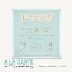 Scrabble Wedding Invitation - Elegant Fun Wedding Invite. $20.00, via Etsy.