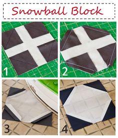 Lella Boutique: Snowball Blocks.  I've never seen this technique for snowball blocks