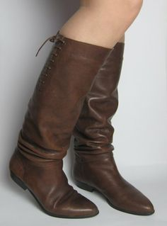Vintage 1980s Brown Leather Flat Riding Style Slouchy Boots available to buy online at Virtual Vintage Clothing £45