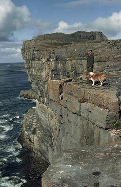 An Irishman With His Dog, Dun Aengus