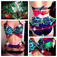 Tropical Mad Hatter Rave Top and Bottom