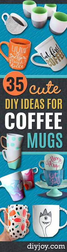 DIY Coffee Mugs - Easy Coffee Mug Ideas for Homemade Gifts and Crafts - Decorate Your Coffee Cups and Tumblers With These Cool Art Ideas - Glitter Paint Sharpie Craft Nail Polish Water Marble and Teen Projects Diy Craft Projects, Art Projects For Teens, Cool Art Projects, Crafts For Teens, Diy Crafts, Sharpie Crafts, Sharpie Art, Homemade Christmas Gifts, Homemade Gifts