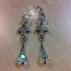 Genuine Swarovski Cross Link Earrings Swarovski round and teardrop stones, filigree cross lever back earrings Fi Jewelry Earrings