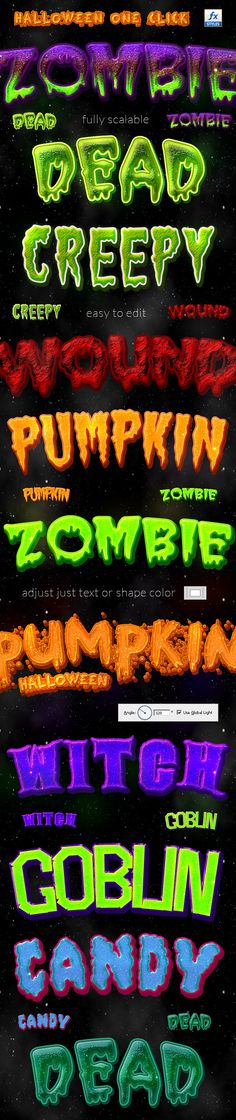 #Halloween One Click Layer Styles - #Text #Effects #Styles