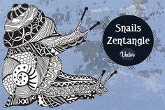 Snails Zentangle by LidiaP on Creative Market