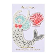 Join a mermaid's undersea world with these beautiful iron-on patches featuring mermaid and scollop shell, beautifully decorated with colorful embroidery stitching.Pack contains 2 patches. Sweet Party, Fabric Patch, Patch Kids, Trends, Iron On Patches, Party Supplies, Kids Fashion, Crochet Earrings, Shells