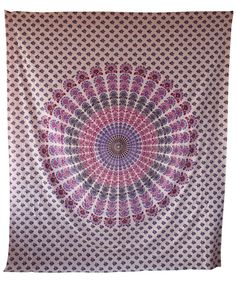 Colorful screen printed cotton bed sheet, tapestry, throw, wall hanging.Radiant shades of vibrant color in a beautiful traditional pattern make for a very majestic and beautiful tapestry