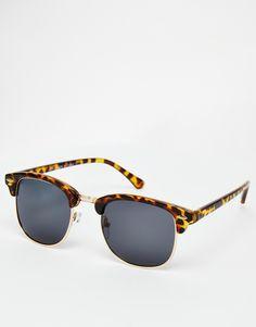 Sonnenbrille von ASOS Collection leichter Schildpattrahmen goldene Metallverzierungen verstellbare Nasenpolster aus Silikon für besonderen Komfort dunkel getönte Gläser schmale Bügel mit abgerundeten Enden für einen sicheren Sitz voller UV-Schutz