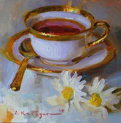 Tea and Daisies by Elena Katsyura Oil ~ 6 x 6