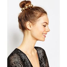 ASOS Large Gold Ball Bun Holder ($12) ❤ liked on Polyvore featuring accessories, hair accessories and gold