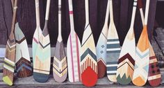 These native stencil designs add a modern twist to these Canoe Paddles- a…