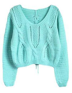 PrettyGuide Women Eyelet Cable Knit Lace Up Crop Long Sleeve Sweater Crop Tops (Green) PrettyGuide http://www.amazon.com/dp/B00NTJH3PO/ref=cm_sw_r_pi_dp_HFfoub0SB8YTJ