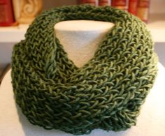 Keep Warm with this Dark green Infinity Scarf by TrinksKnitting, $15.00
