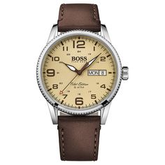 Hugo Boss Pilot Edition Mens Watch - Leather Strap - Beige Dial - Day/Date - Hugo Boss Watches, Gents Watches, Watches For Men, Hugo Men, Hugo Boss Man, Montres Hugo Boss, Brown Leather Strap Watch, Brown Band, Mens Watches Leather