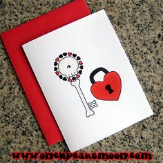 skeleton key to my heart notecards / thank you by OnCupcakeMoon