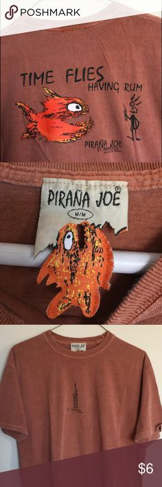 "Piranha Joe's St. Maarten souvenir tee Unisex cotton rust colored ""rum"" size M tee Piranha Joe's Tops Tees - Short Sleeve"