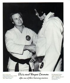 Elvis with Wayne Carman after a karate training session.