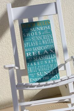 Beach Rules Vintage Style Typography Word Art by barnowlprimitives, $90.00