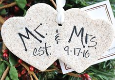 Remember the happy event with a Mr & Mrs couple's heart ornament! This newlywed, couples ornament is a double heart, handcrafted in salt dough. Background color is warm white, ornament has been heavil Salt Dough Projects, Salt Dough Crafts, Salt Dough Ornaments, First Christmas, Christmas Time, Christmas Ideas, Christmas Clay, Christmas 2016, Country Christmas
