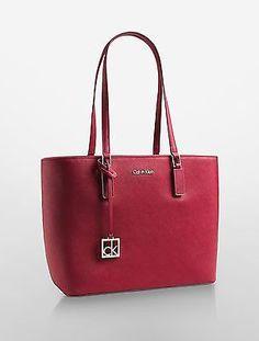 Calvin Klein womens scarlett saffiano leather shopper tote bag handbag  garnett c4185bc8834cb
