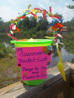 Summer Bucket-List: Things to Do & Places to Go  About 70 different crafts, outdoor activities, and places to visit during summer vacation!  Some examples:  Homemade sidewalk paint, visit the zoo, go on a paddle boat ride, go camping, bead sun-catchers, make stepping stones, Angry birds water balloon fight, make bird feeders, mini golf, go berry picking, visit a farmer's market, go to the beach, indoor fishing, animal hand-print art--turn into an ABC book for my toddler,    or scavenger hunt...