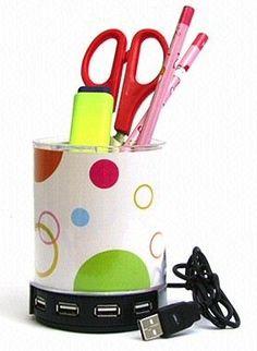 USB hub pencil holder for your desk. Electronics Gadgets, Tech Gadgets, Cool Gadgets, Top Desktop Computers, Camera Accessories, Computer Accessories, Usb Drive, Usb Flash Drive, Pc Mouse