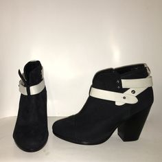 BN Rag & Bone suede leather strap booties 5.5 Never worn, brand new! Only tried on. Black suede, white leather straps. No trades. All offers and negotiations through the offer button please  Retail price is $400. rag & bone Shoes Ankle Boots & Booties