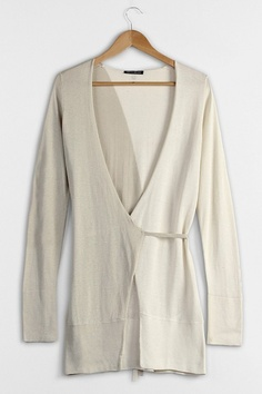 Cardigan crafted in silk and cotton, featuring a V-neckline, long sleeves with lace up fastening, wrapped design with bound waist, contrast colored design.